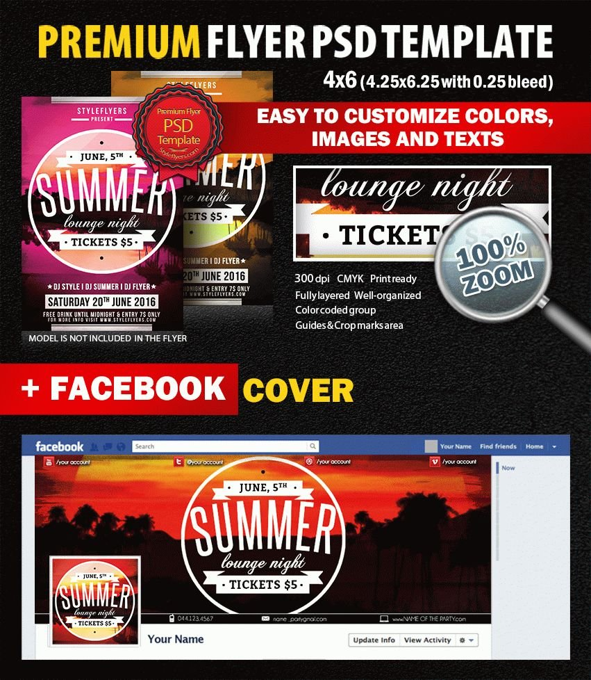 Summer Lounge Night PSD Flyer Template