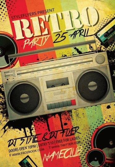Retro Party Psd Flyer Template #7509 - Styleflyers