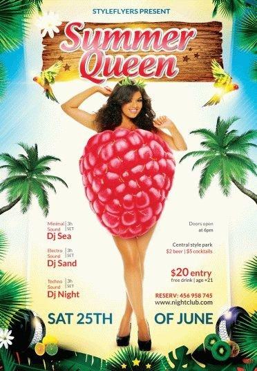 summer queen PSD Flyer Template