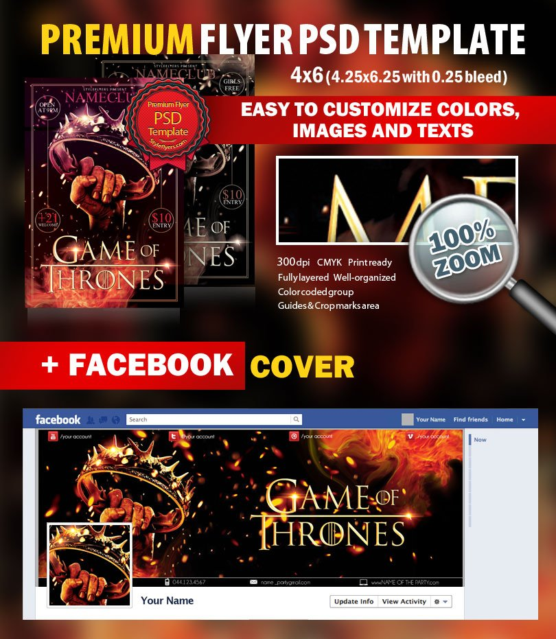 Game Of Thrones Party Psd Flyer Template 8308 Styleflyers