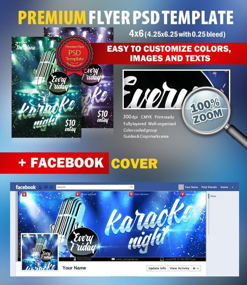 Karaoke Night Psd Flyer Template #8455 - Styleflyers