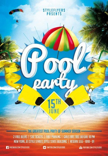 Pool Party Psd Flyer Template   Styleflyers