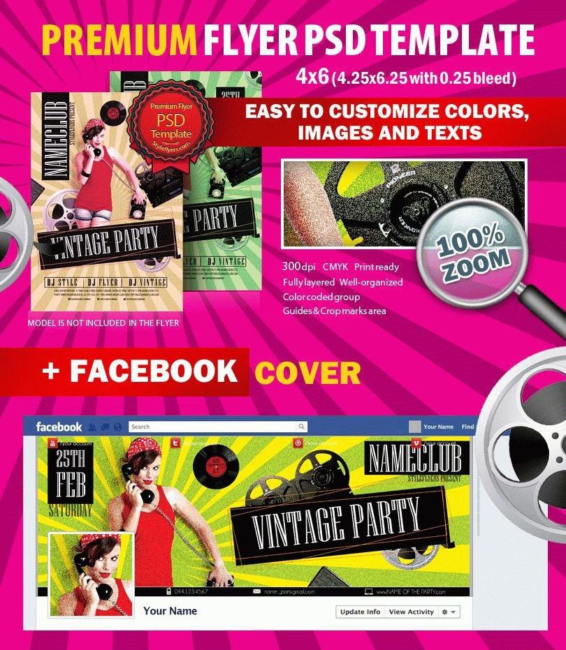Red Carpet Party PSD Flyer Template