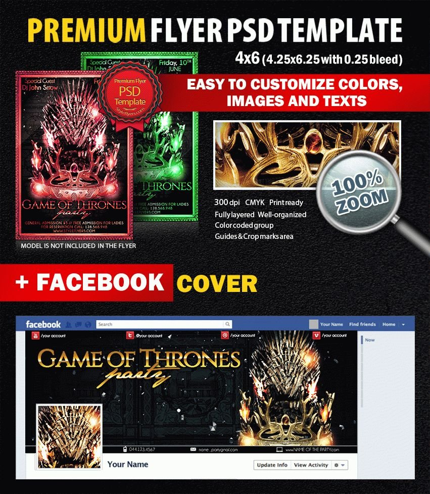 Game of Thrones Party PSD Flyer Template