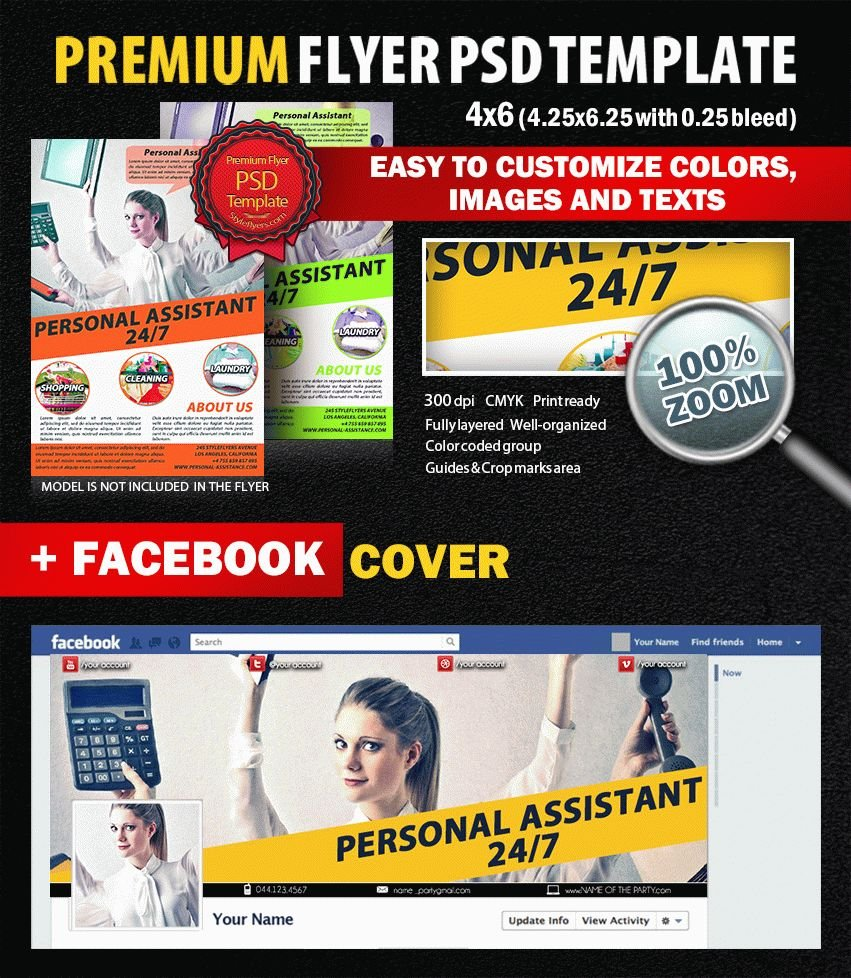 Personal Assistant PSD Flyer Template