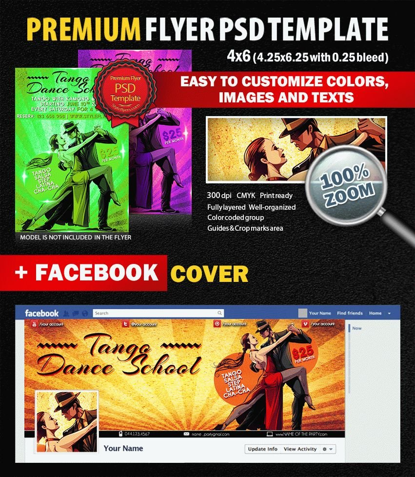Tango Dance School PSD Flyer Template