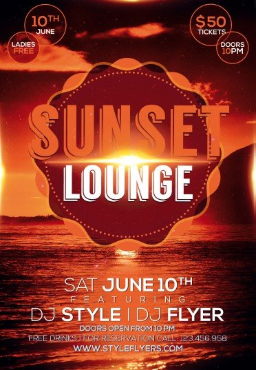 Sunset Lounge Psd Flyer Template   Styleflyers