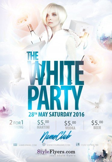 white party psd flyer template 8111 styleflyers rh styleflyers com white party flyer psd free download white party flyer template free