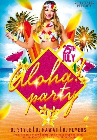 Aloha Party Psd Flyer Template 9193 Styleflyers