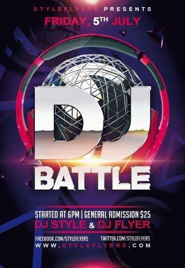 DJ Battle PSD Flyer Template #9153 - Styleflyers