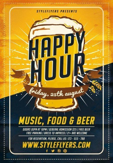 Happy Hour PSD Flyer Template Sale Premium Prev 0845