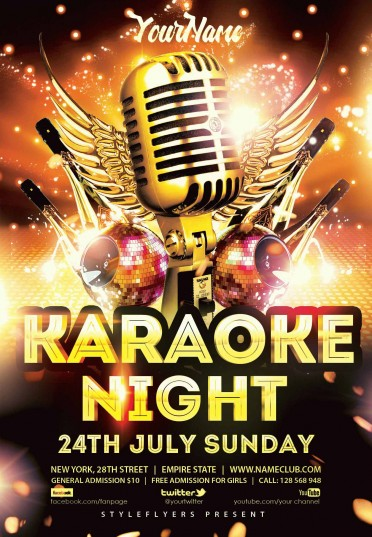 Karaoke Night Psd Flyer Template #8852 - Styleflyers