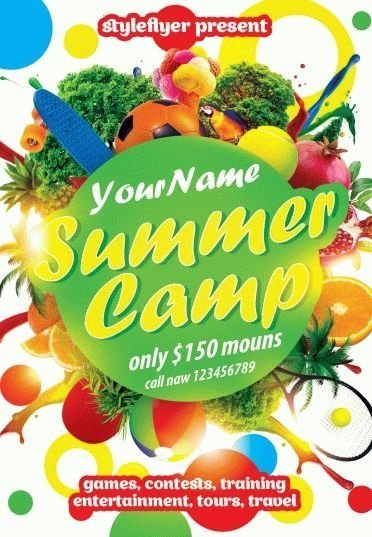 Summer Camp Psd Flyer Template   Styleflyers
