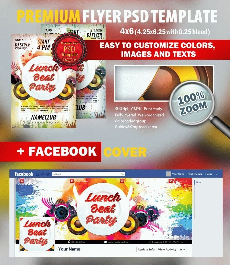 Lunch Beat Party PSD Flyer Template