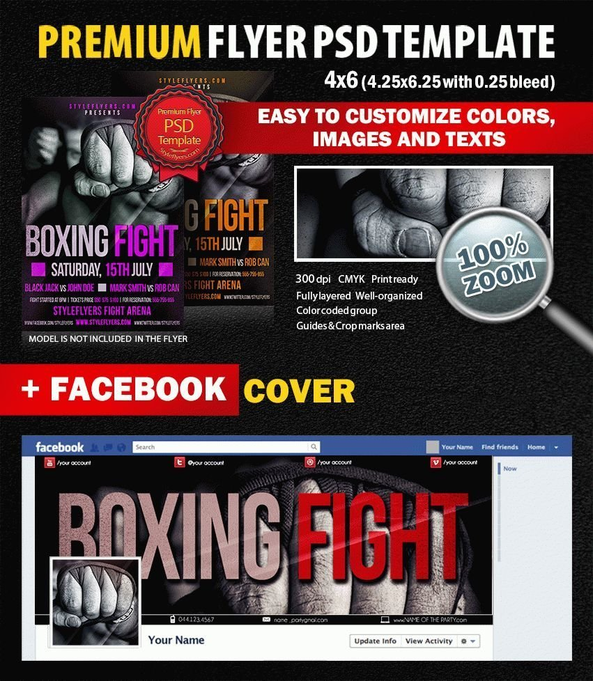 Boxing Fight PSD Flyer Template