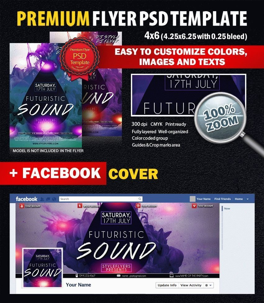 Futuristic Sound PSD Flyer Template
