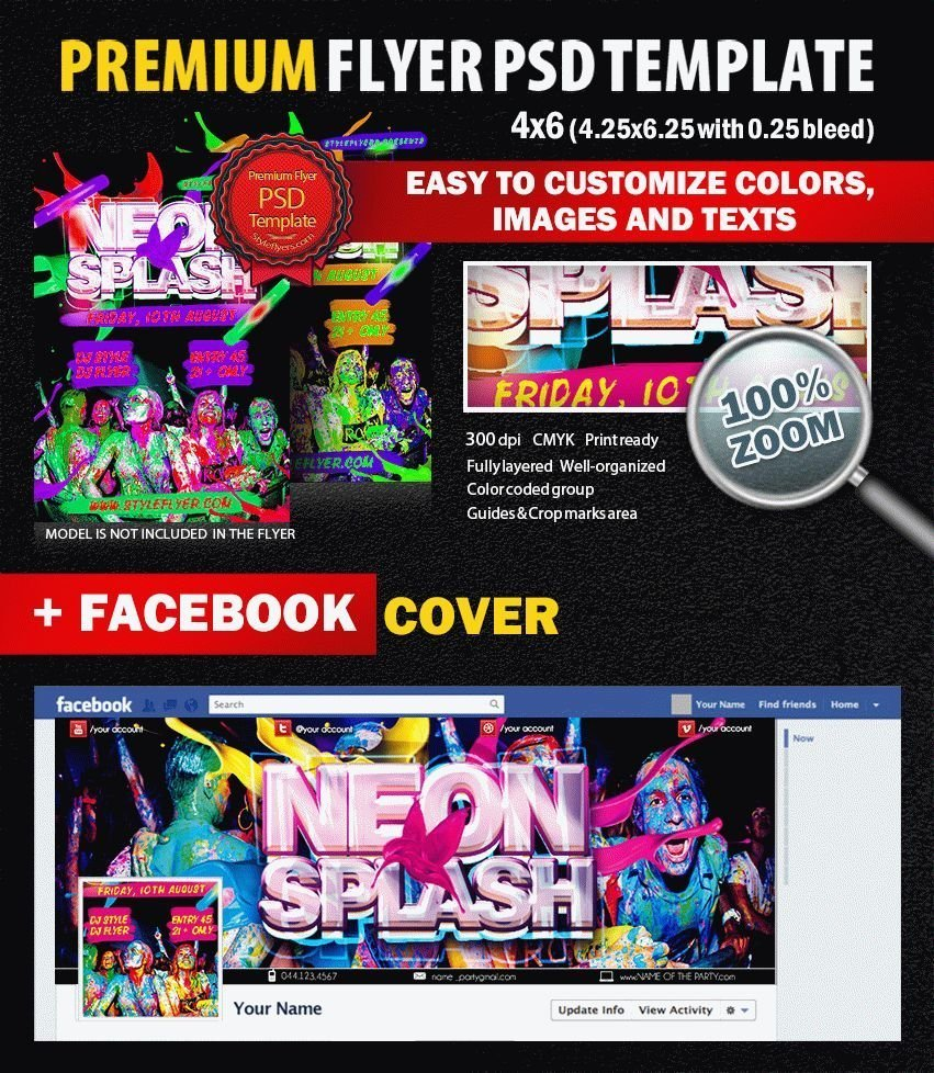 Neon Splash PSD Flyer Template