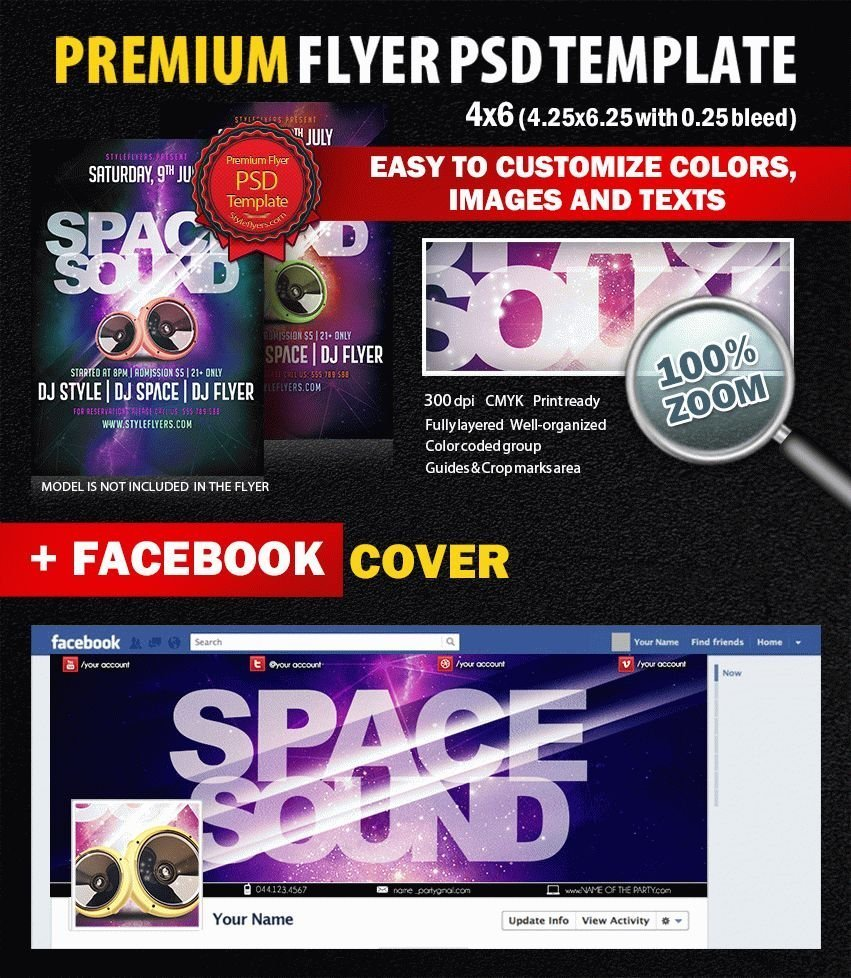 Space Sound PSD Flyer Template