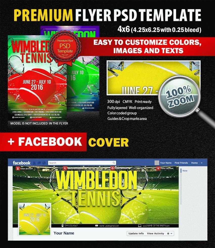 Tennis Wimbledon PSD Flyer Template