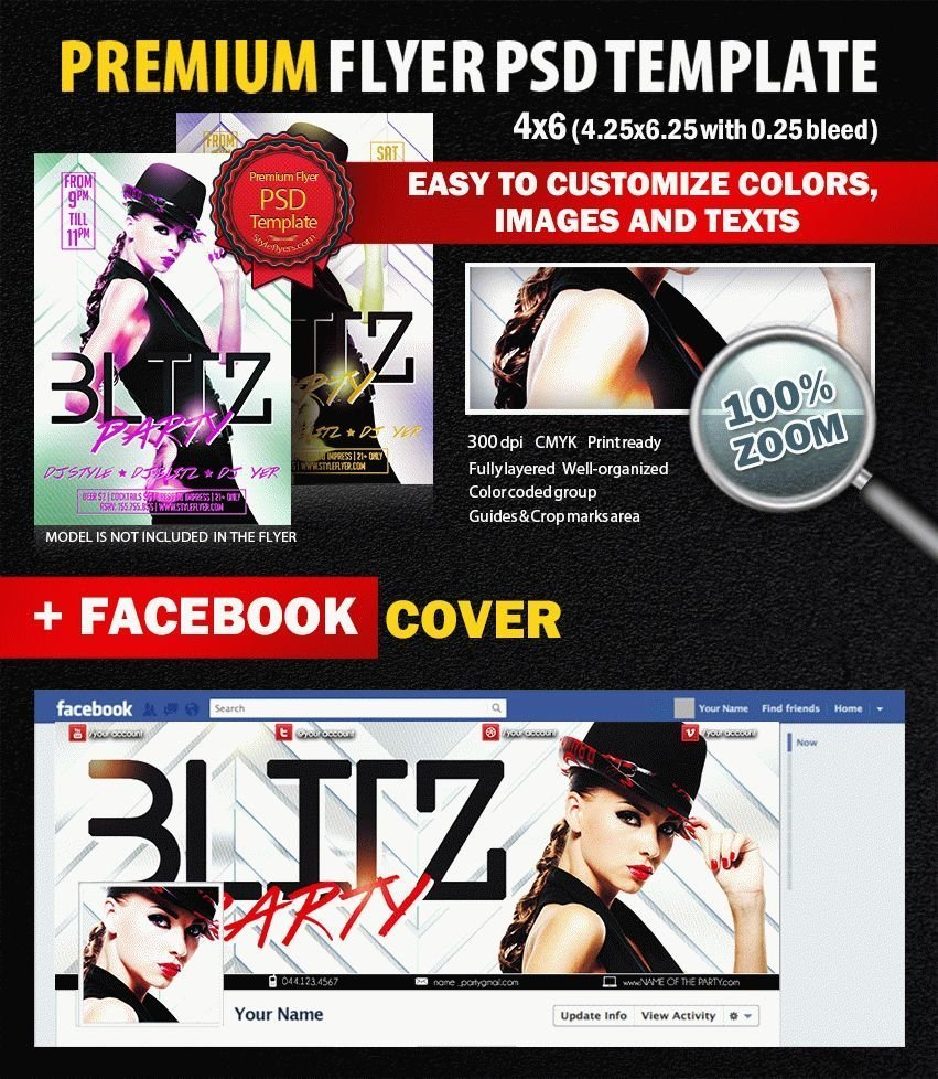 Blitz party PSD Flyer Template