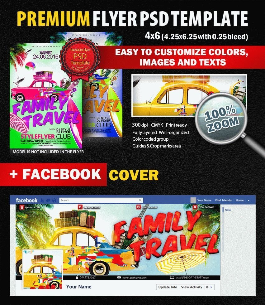 Family Travel PSD Flyer Template