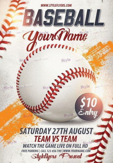 Baseball Psd Flyer Template   Styleflyers