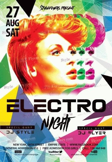Electro Night PSD Flyer Template