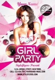 Girl Party PSD Flyer Template