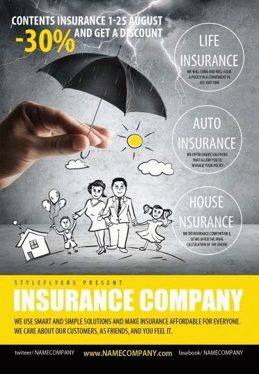 Insurance Company PSD Flyer Template #9552 - Styleflyers