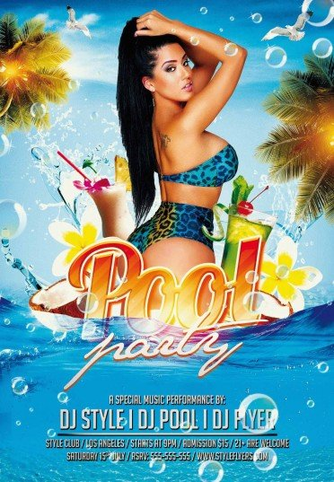 Pool Party Psd Flyer Template #9611 - Styleflyers
