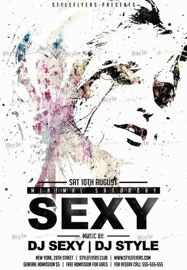 Sexy Minimal Saturday watermarks PSD Flyer Template