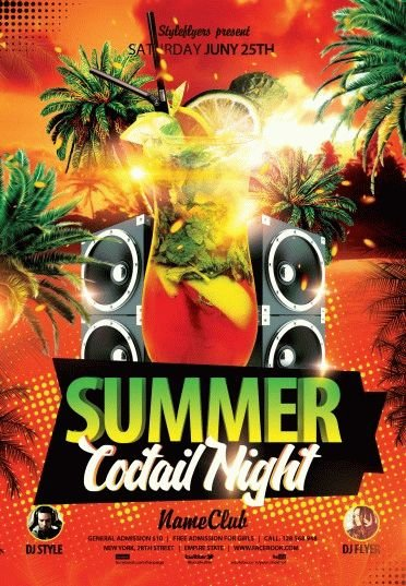 Summer Cocktail Night PSD Flyer Template