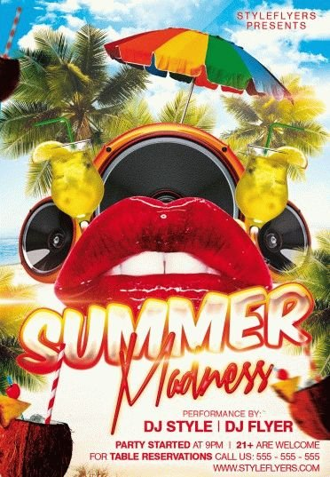 Summer Madness Party Psd Flyer Template #9457 - Styleflyers