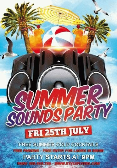 Summer Sounds Party Psd Flyer Template   Styleflyers