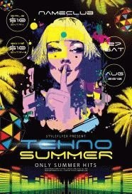 Techno Summer PSD Flyer Template