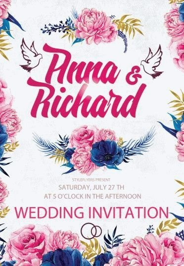Wedding Invitation Psd Flyer Template   Styleflyers