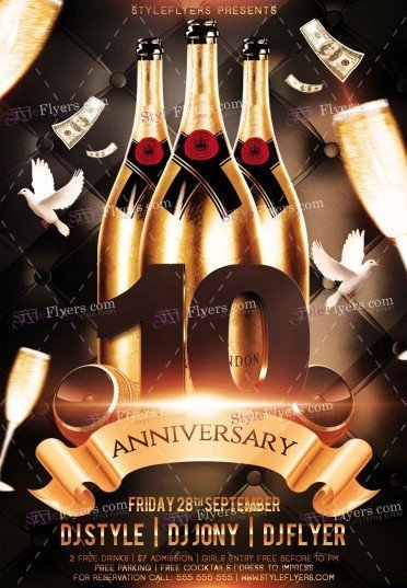 Anniversary Party Psd Flyer Template #10679 - Styleflyers