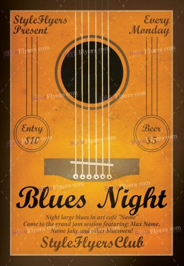 Blues Night PSD Flyer Template