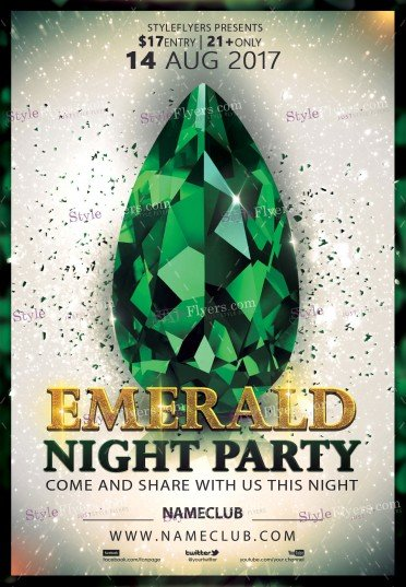 Emerald Party Psd Flyer Template   Styleflyers