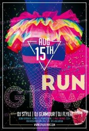 Glow Run PSD Flyer Template