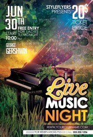 Green Concert PSD Flyer Template