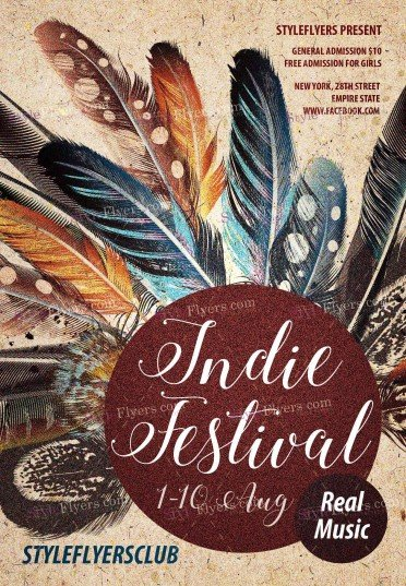 Indie Festival PSD Flyer Template