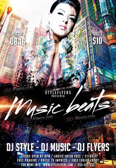 Music Beats  PSD Flyer Template
