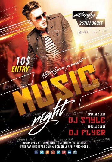 Music Night PSD Flyer Template