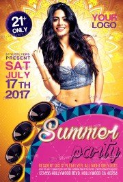 Summer Party PSD Flyer Template