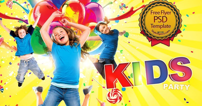 Kids Party FREE PSD Flyer Template Free Download #10606 - Styleflyers