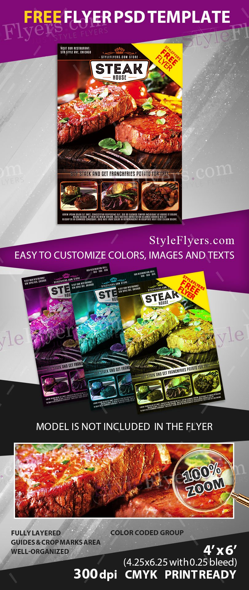 Steak House Free Psd Flyer Template Free Download 11009 Styleflyers