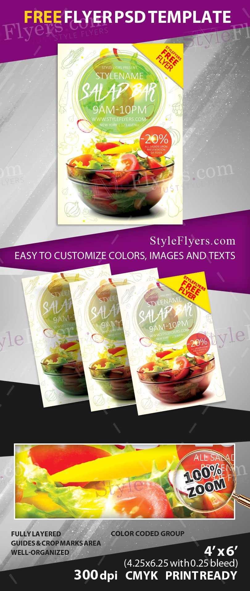 Salad Bar Flyer FREE PSD Flyer Template Free Download 11163 – Bar Flyer Template
