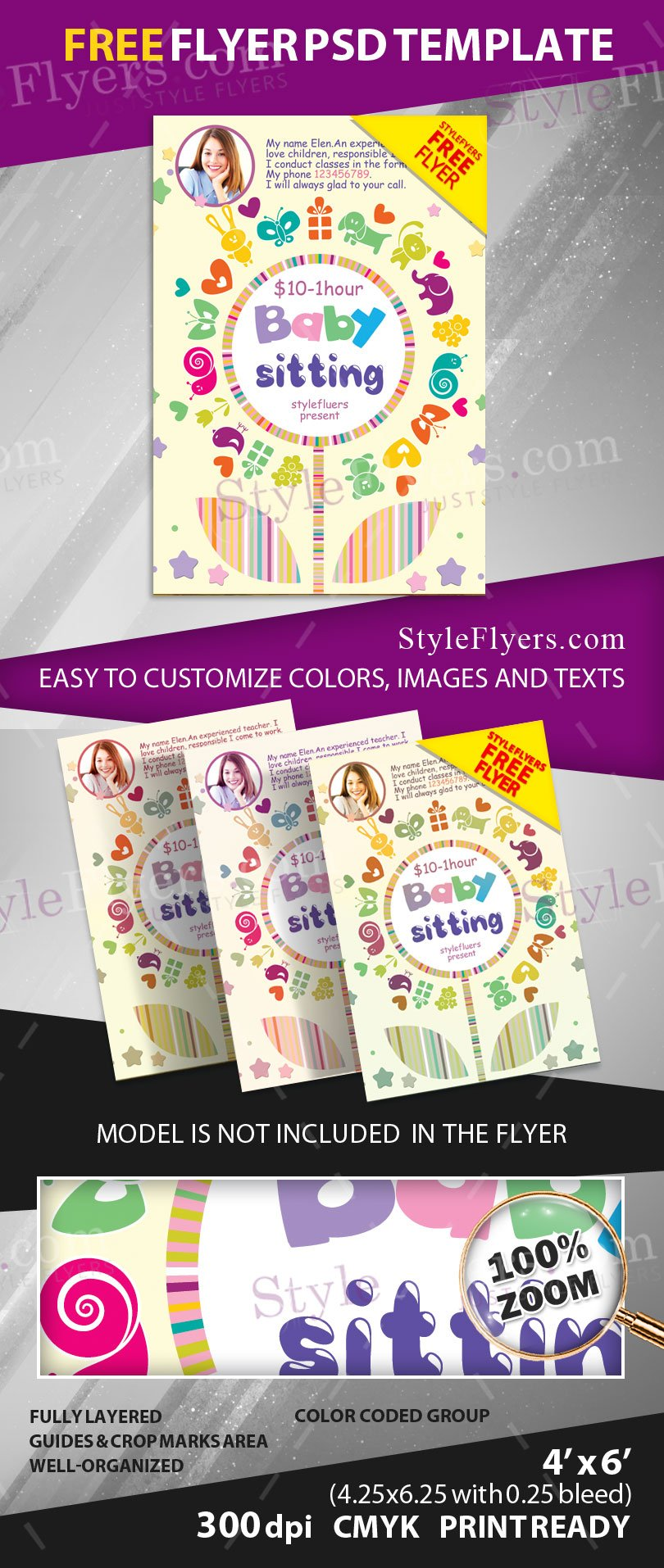 babysitting flyer psd flyer template  if you want to promote your teaching or babysitting services and new clients you should turn your attention to our new babysitting flyer psd