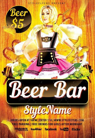 Beer Bar PSD Flyer Template